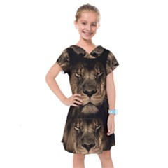 African Lion Mane Close Eyes Kids  Drop Waist Dress