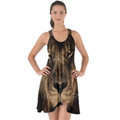 African Lion Mane Close Eyes Show Some Back Chiffon Dress