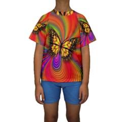 Arrangement Butterfly Aesthetics Kids  Short Sleeve Swimwear