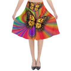 Arrangement Butterfly Aesthetics Flared Midi Skirt