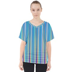 Colorful Color Arrangement V Neck Dolman Drape Top