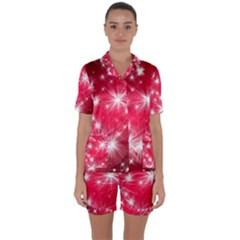 Christmas Star Advent Background Satin Short Sleeve Pyjamas Set