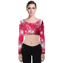 Christmas Star Advent Background Velvet Long Sleeve Crop Top