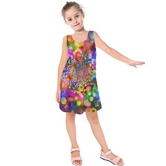 Background Color Pattern Structure Kids  Sleeveless Dress