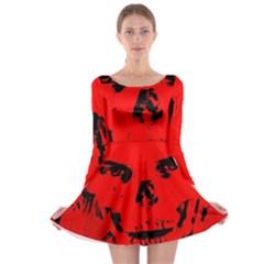Halloween Face Horror Body Bone Long Sleeve Skater Dress