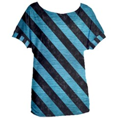 Stripes3 Black Marble & Teal Brushed Metal Women s Oversized Tee