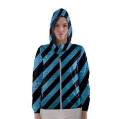 Stripes3 Black Marble & Teal Brushed Metal (r) Hooded Wind Breaker (women)
