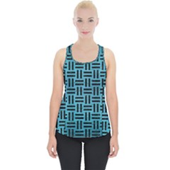 Woven1 Black Marble & Teal Brushed Metal Piece Up Tank Top