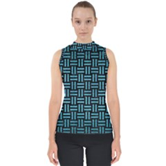 Woven1 Black Marble & Teal Brushed Metal (r) Shell Top
