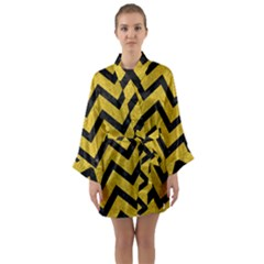 Chevron9 Black Marble & Yellow Denim Long Sleeve Kimono Robe