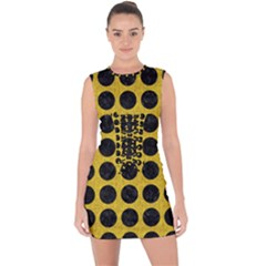 Circles1 Black Marble & Yellow Denim Lace Up Front Bodycon Dress
