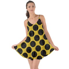 Circles2 Black Marble & Yellow Denim Love The Sun Cover Up