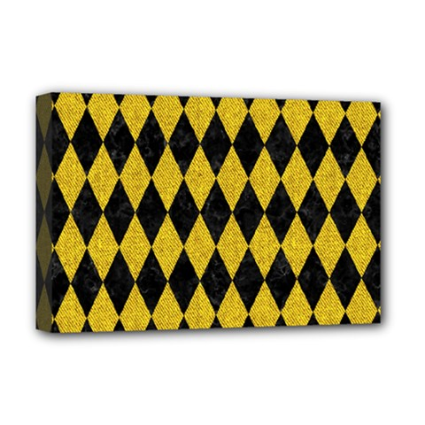 Diamond1 Black Marble & Yellow Denim Deluxe Canvas 18  X 12