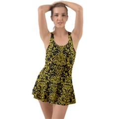 Damask2 Black Marble & Yellow Denim (r) Swimsuit