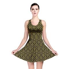 Hexagon1 Black Marble & Yellow Denim (r) Reversible Skater Dress