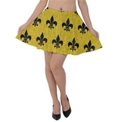Royal1 Black Marble & Yellow Denim (r) Velvet Skater Skirt