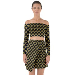 Scales1 Black Marble & Yellow Denim (r) Off Shoulder Top With Skirt Set