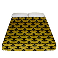 Scales3 Black Marble & Yellow Denim Fitted Sheet (queen Size)