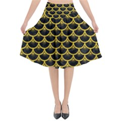 Scales3 Black Marble & Yellow Denim (r) Flared Midi Skirt
