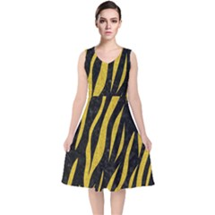 Skin3 Black Marble & Yellow Denim (r) V Neck Midi Sleeveless Dress