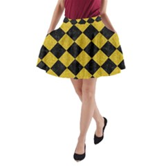 Square2 Black Marble & Yellow Denim A Line Pocket Skirt