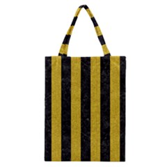 Stripes1 Black Marble & Yellow Denim Classic Tote Bag