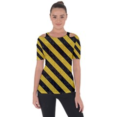 Stripes3 Black Marble & Yellow Denim Short Sleeve Top