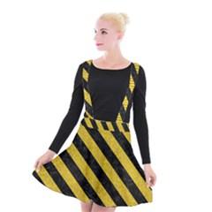 Stripes3 Black Marble & Yellow Denim Suspender Skater Skirt