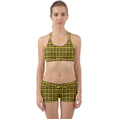 Woven1 Black Marble & Yellow Denim Back Web Sports Bra Set