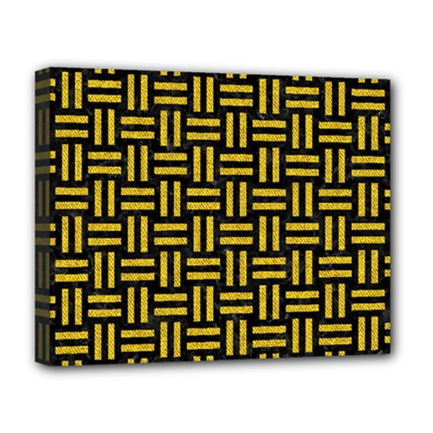 Woven1 Black Marble & Yellow Denim (r) Deluxe Canvas 20  X 16