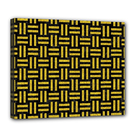 Woven1 Black Marble & Yellow Denim (r) Deluxe Canvas 24  X 20