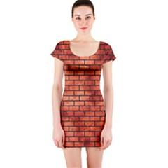 Brick1 Black Marble & Copper Paint Short Sleeve Bodycon Dress