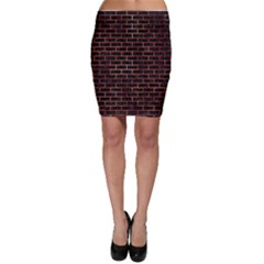Brick1 Black Marble & Copper Paint (r) Bodycon Skirt