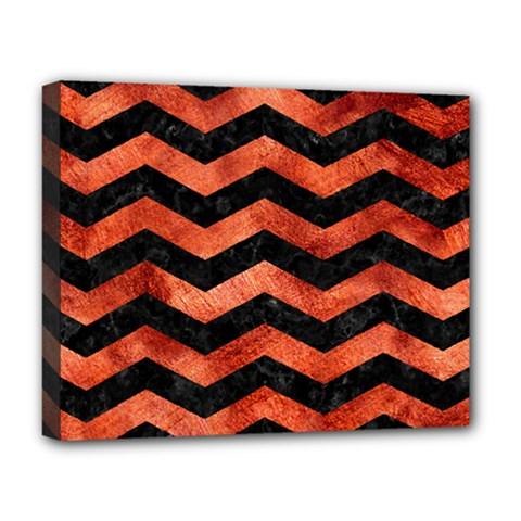 Chevron3 Black Marble & Copper Paint Deluxe Canvas 20  X 16