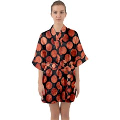 Circles2 Black Marble & Copper Paint (r) Quarter Sleeve Kimono Robe