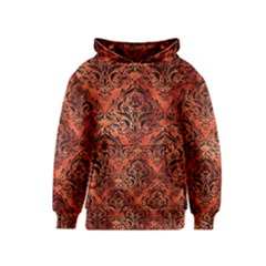 Damask1 Black Marble & Copper Paint Kids  Pullover Hoodie