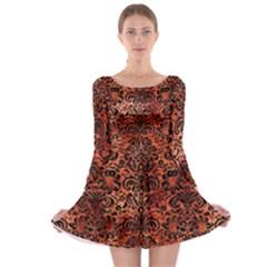 Damask2 Black Marble & Copper Paint Long Sleeve Skater Dress