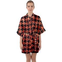 Houndstooth1 Black Marble & Copper Paint Quarter Sleeve Kimono Robe