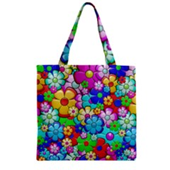 Flowers Ornament Decoration Zipper Grocery Tote Bag
