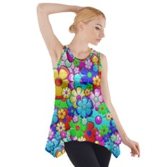 Flowers Ornament Decoration Side Drop Tank Tunic