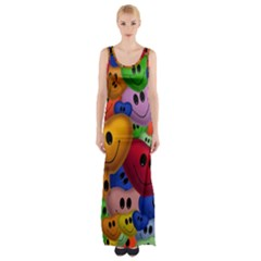 Heart Love Smile Smilie Maxi Thigh Split Dress