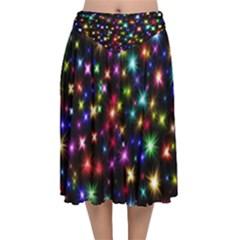 Fireworks Rocket New Year S Day Velvet Flared Midi Skirt