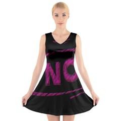 No Cancellation Rejection V Neck Sleeveless Skater Dress