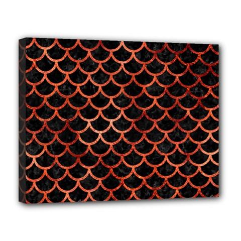 Scales1 Black Marble & Copper Paint (r) Canvas 14  X 11