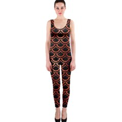 Scales2 Black Marble & Copper Paint (r) Onepiece Catsuit