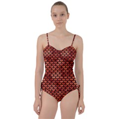 Scales3 Black Marble & Copper Paint Sweetheart Tankini Set