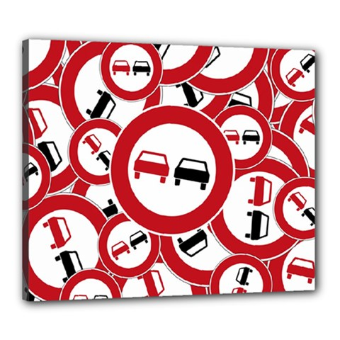 Overtaking Traffic Sign Canvas 24  X 20