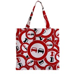Overtaking Traffic Sign Grocery Tote Bag