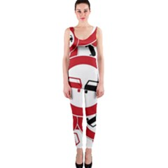 Overtaking Traffic Sign Onepiece Catsuit