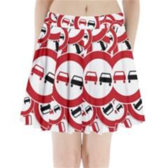 Overtaking Traffic Sign Pleated Mini Skirt